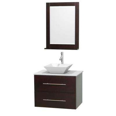 Centra 30 in. Vanity in Espresso with Solid-Surface Vanity Top in White, Porcelain Sink and 24 in. Mirror