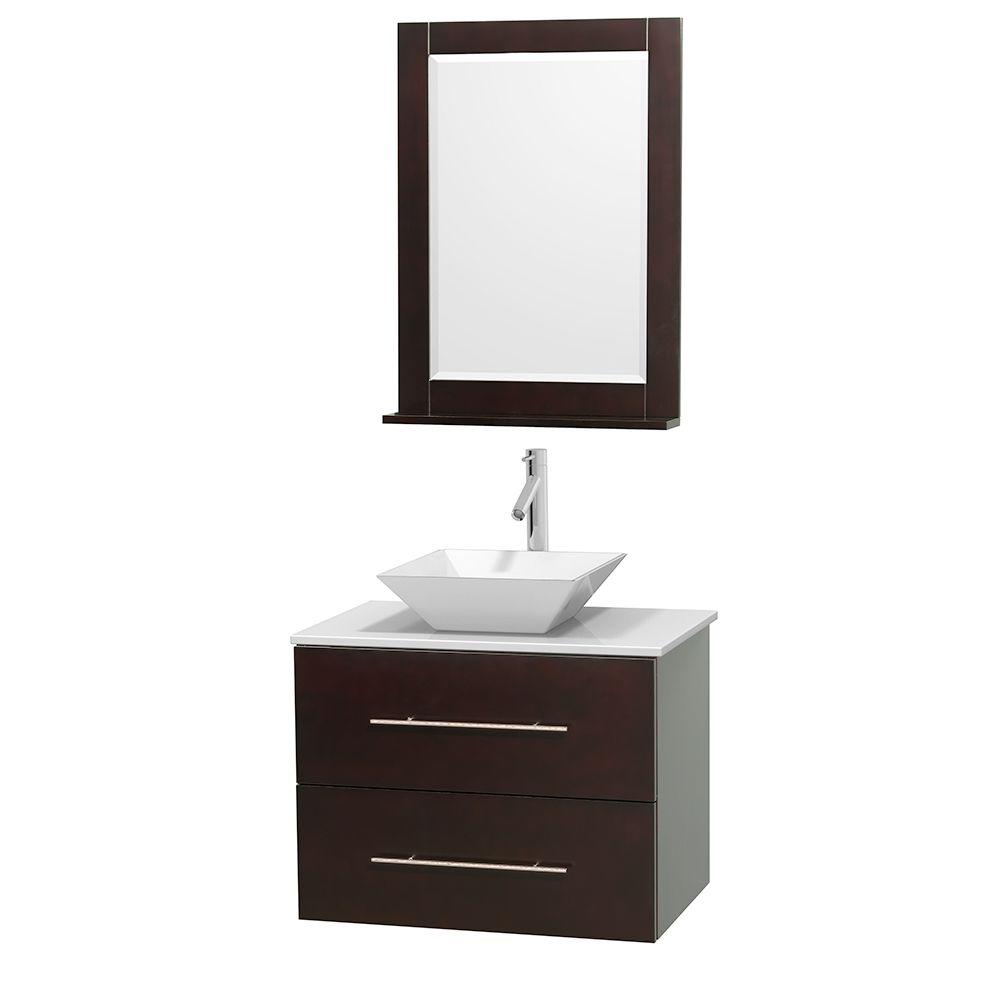 Wyndham Collection Centra 30 in. Vanity in Espresso with Solid-Surface Vanity Top in White, Porcelain Sink and 24 in. Mirror