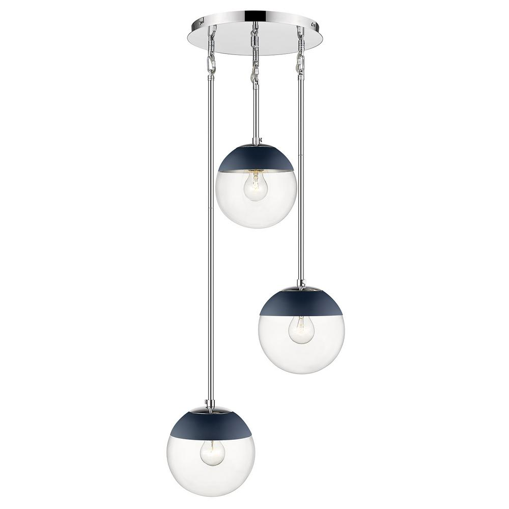 Golden Lighting Dixon 3-Light Pendant in Chrome with Clear Glass and Navy Cap