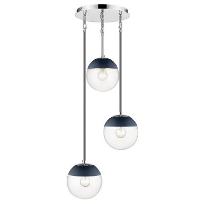Dixon 3-Light Pendant in Chrome with Clear Glass and Navy Cap