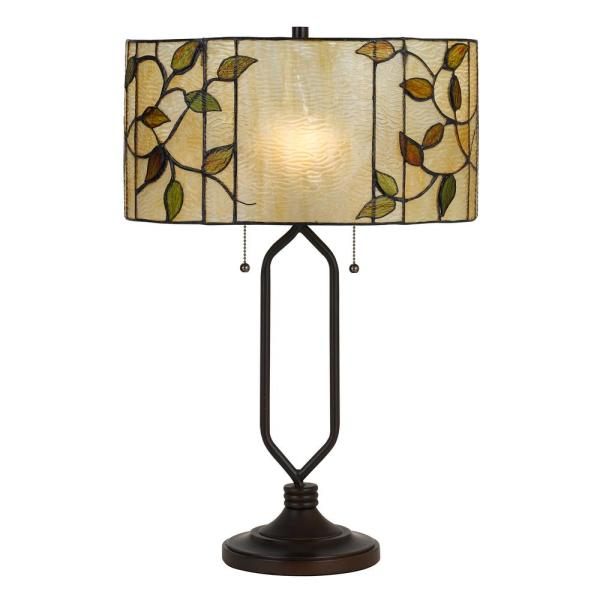 23 in. Bark Bronze Metal Table Lamp with Tiffany Glass Shade