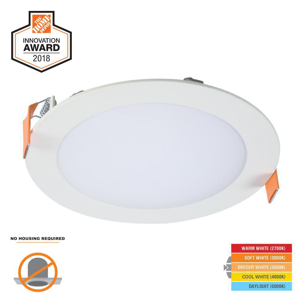Halo HLB 6 in. White Round Integrated LED Recessed Light Direct Mount Kit with Selectable CCT (2700K-5000K), (No Can Needed)