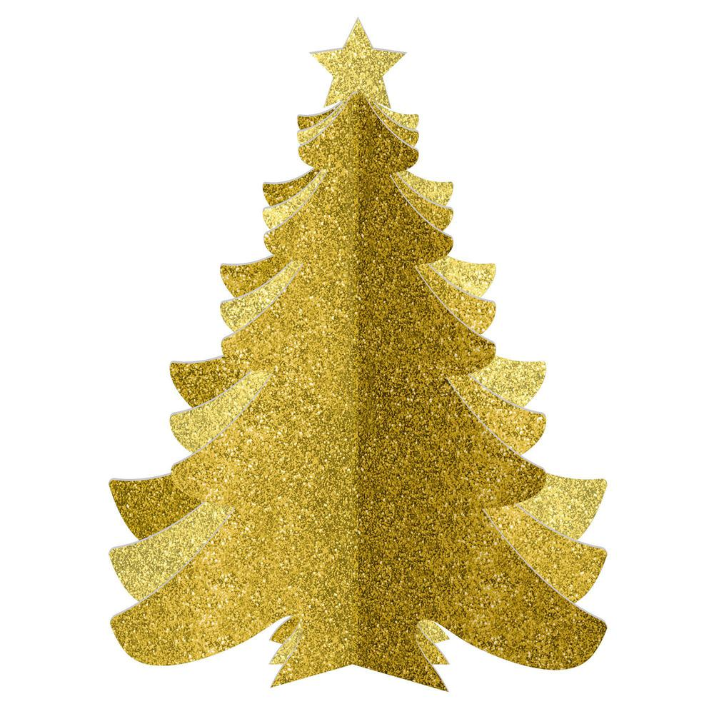 Christmas 3D Gold Glitter Tree Decorations (3-Pack)