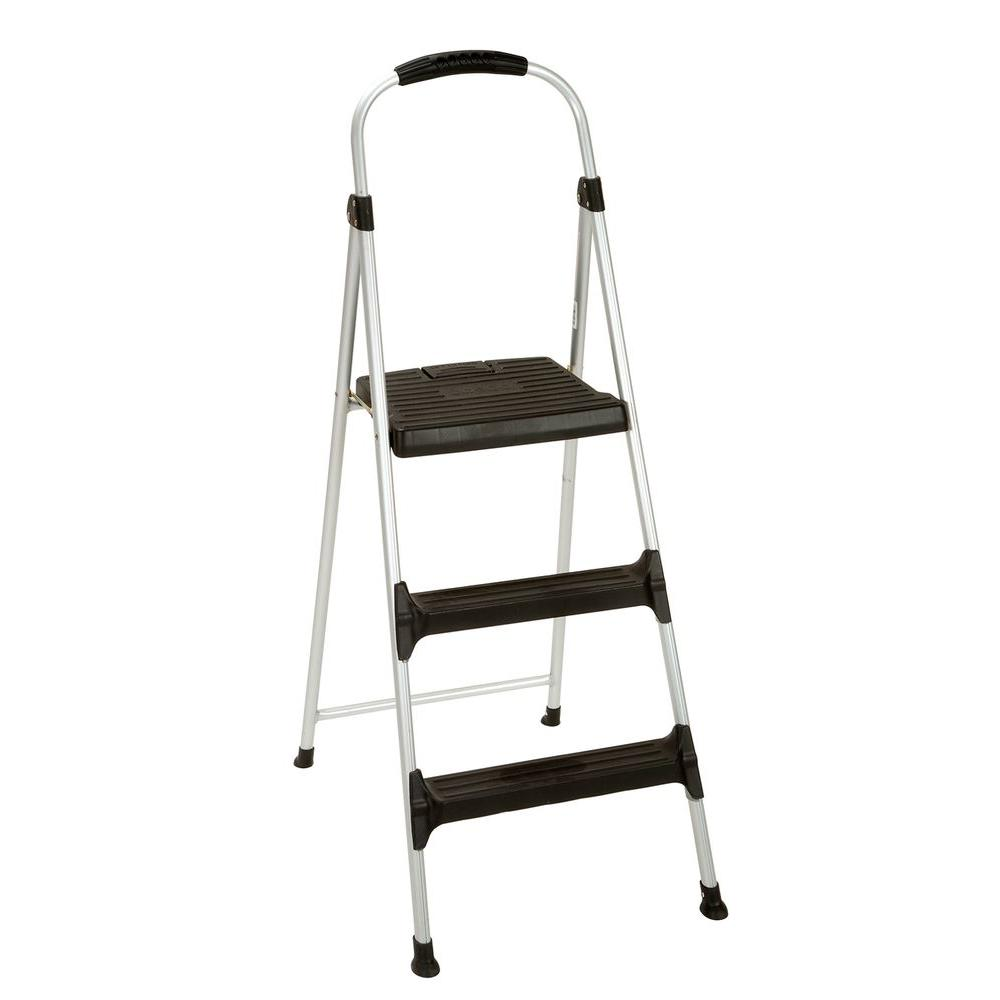 Cosco Signature 3-Step Aluminum Step Stool Ladder with Plastic Steps