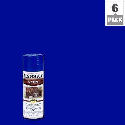 12 oz. Protective Enamel Satin Sapphire Spray Paint (6-Pack)
