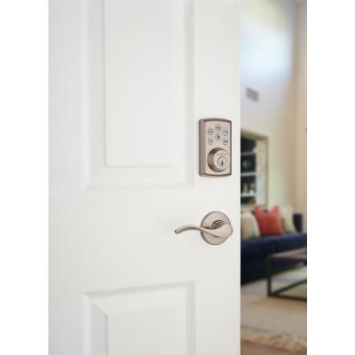 Z-Wave SmartCode 888 Satin Nickel Single Cylinder Electronic Deadbolt Featuring SmartKey Security