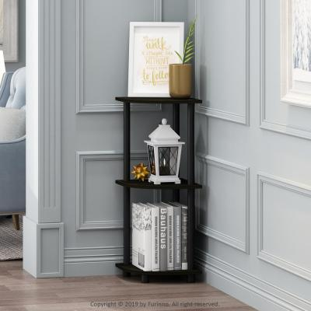 29.6 in. Espresso Plastic 3-shelf Corner Bookcase with Open Storage