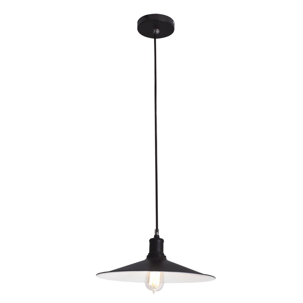 BAZZ 1-Light Black Pendant With Vintage Industrial Shade