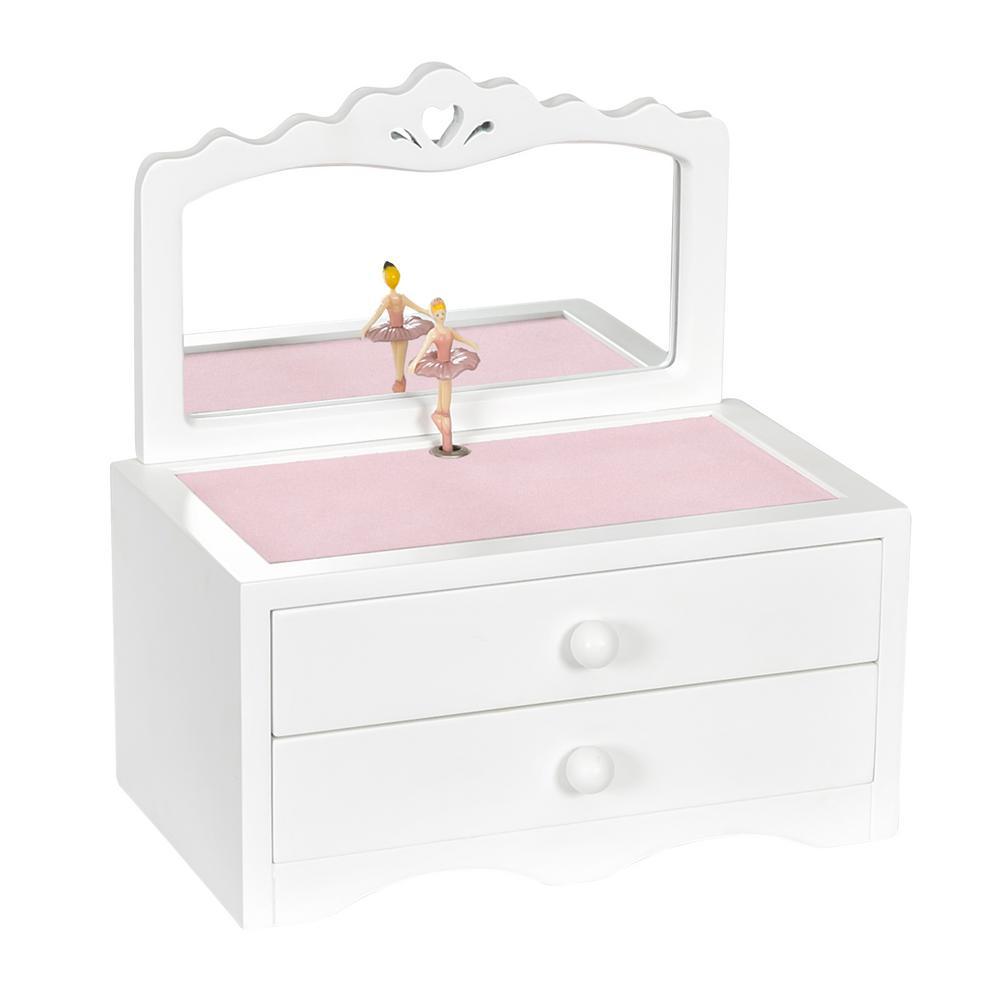 Kelby White Girl's Wooden Musical Ballerina Jewelry Box