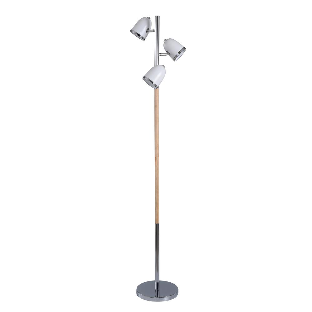 StyleCraft 64 in. Silver Floor Lamp with White Metal Shade