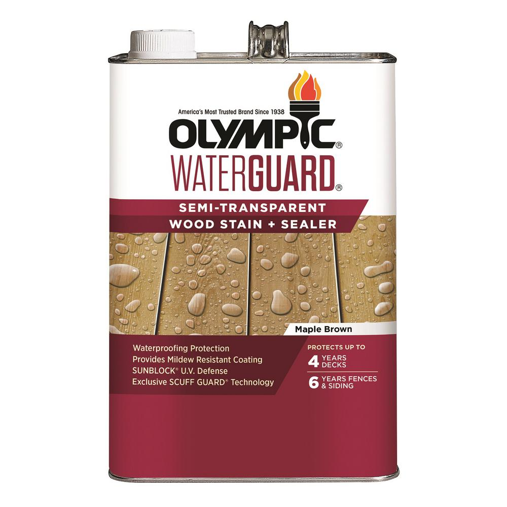 Olympic WaterGuard 1 gal. Maple Brown Semi-Transparent Wood Stain and Sealer