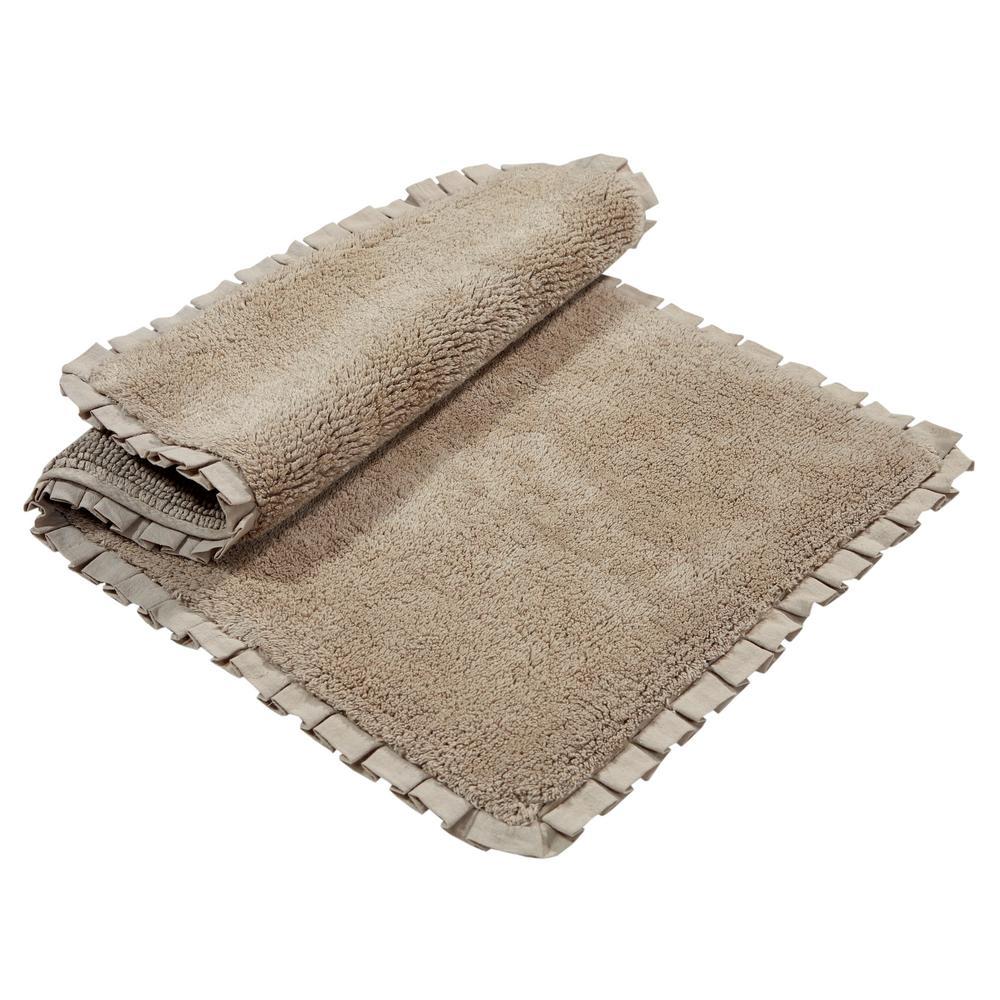 Click here to buy Chesapeake Merchandising Verona Pleat Trim Linen 2 ft. x 3 ft. 4 inch 2-Piece Bath Rug Set by Chesapeake Merchandising.