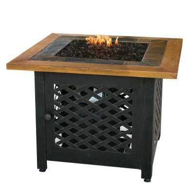 32 in. W Square Slate Tile Faux Wood Mantle LP Gas Fire Pit with Electronic Ignition and Bronze Fire Glass