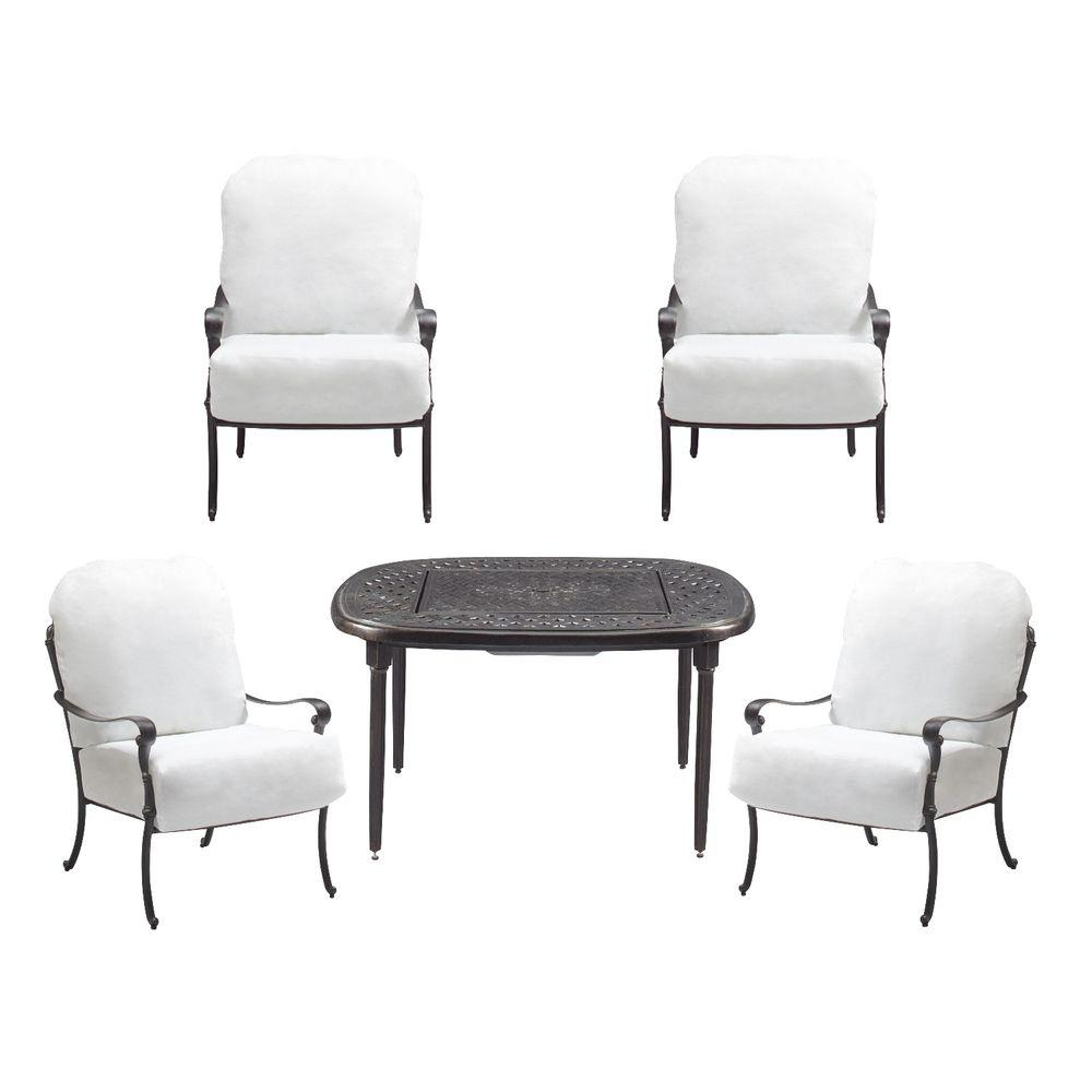 Hampton Bay Edington 2013 5-Piece Patio Fire Pit Chat Set with Cushion Insert (Slipcovers Sold Separately)