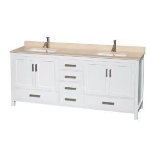 Sheffield 80 in. Double Vanity in White with Marble Vanity Top in Ivory