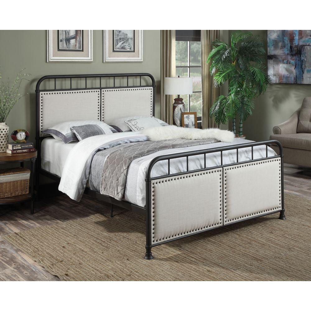 PRI All-in-1 Black Queen Upholstered Bed