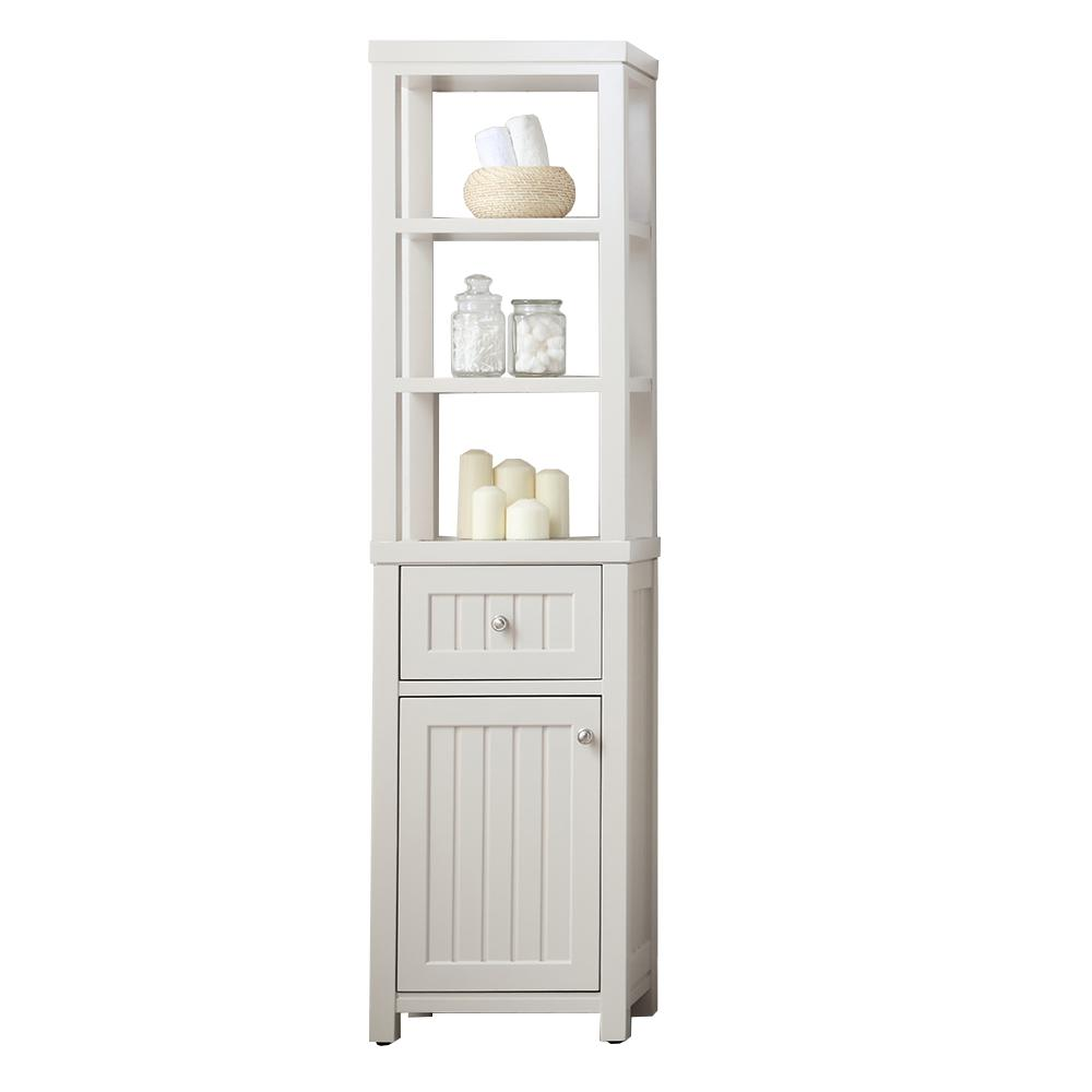 Martha stewart living seal harbor 18 in w x in d x 69 in h 1 door and 1 drawer tall Martha stewart bathroom collection