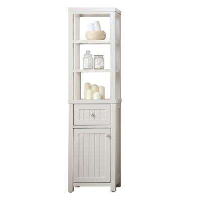 Seal Harbor 18 in. W x 12.76 in. D x 69 in. H 1-Door and 1-Drawer Tall Side Unit in Sharkey Grey