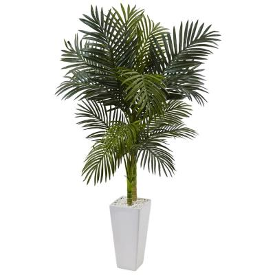 Indoor Golden Cane Palm Artificial Tree in White Tower Planter