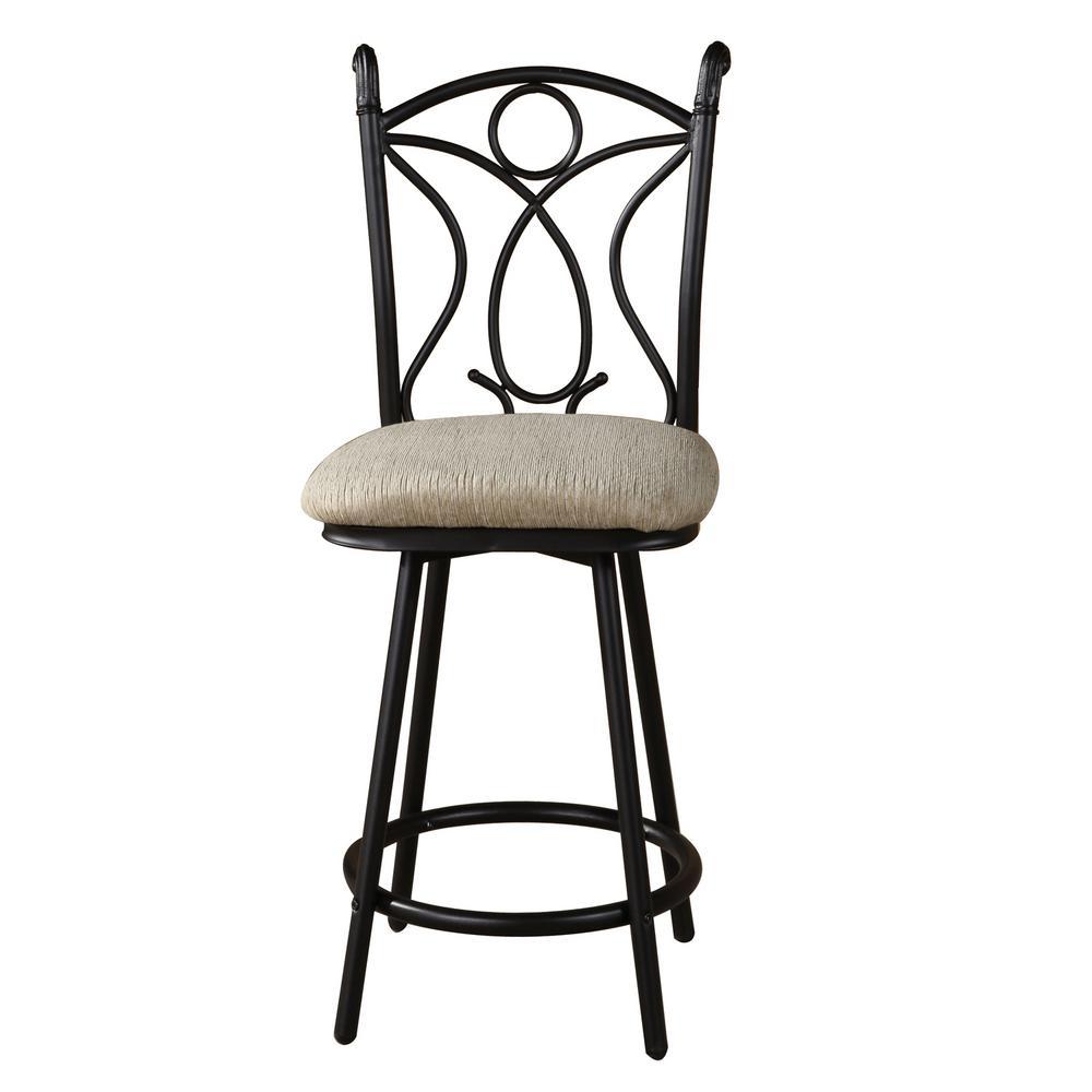 Home Source Marshall Black Metal Side Chair with Tan Seat Cushion