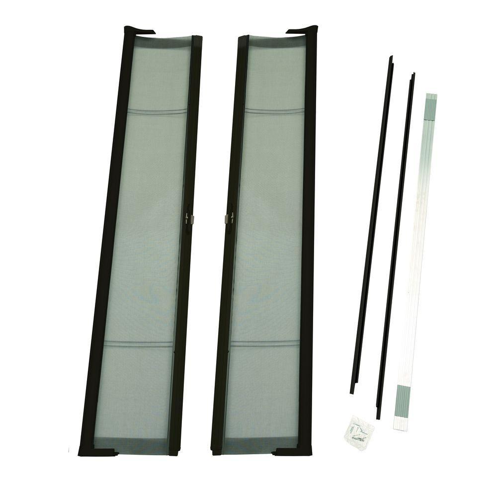 72 in. x 78 in. Brisa Brown Short Height Double Door Kit Retractable Screen Door