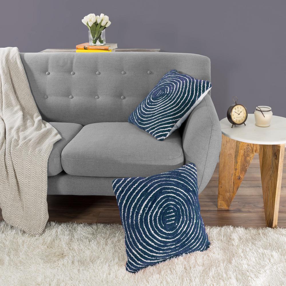 Modern Concentric Circle Navy Decorative Pillow