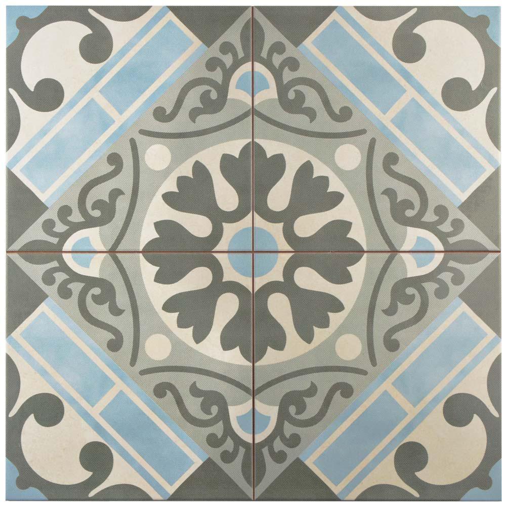 Evasion Azul Encaustic 17-5/8 in. x 17-5/8 in. Ceramic Floor and Wall Tile (11.1 sq. ft. / case)