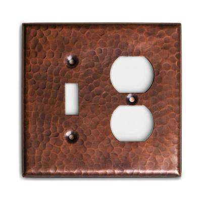 Pure Hand Hammered 1 Toggle/1 Duplex Wall Plate, Copper