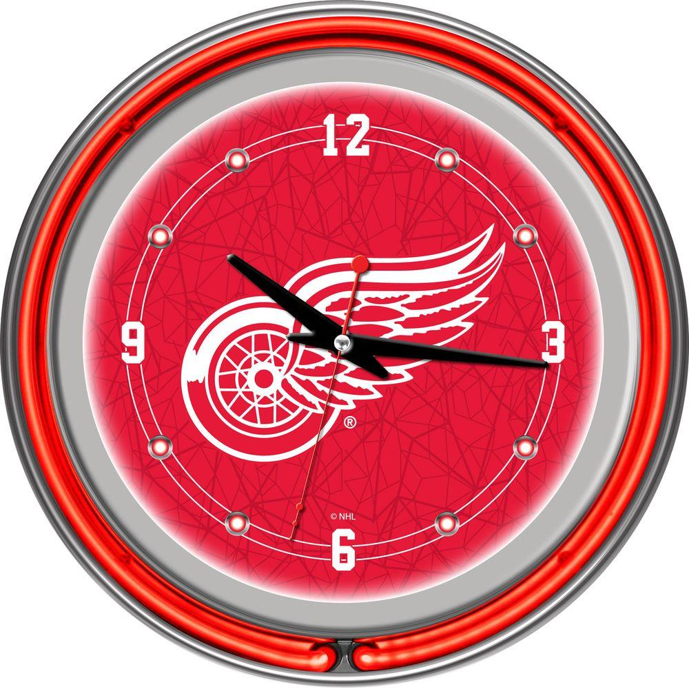 Trademark 14 in. Detroit Redwings NHL Neon Wall Clock