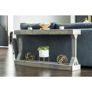 Barb 60 in. Large Gray Rectangle Wood Console Table with Storage