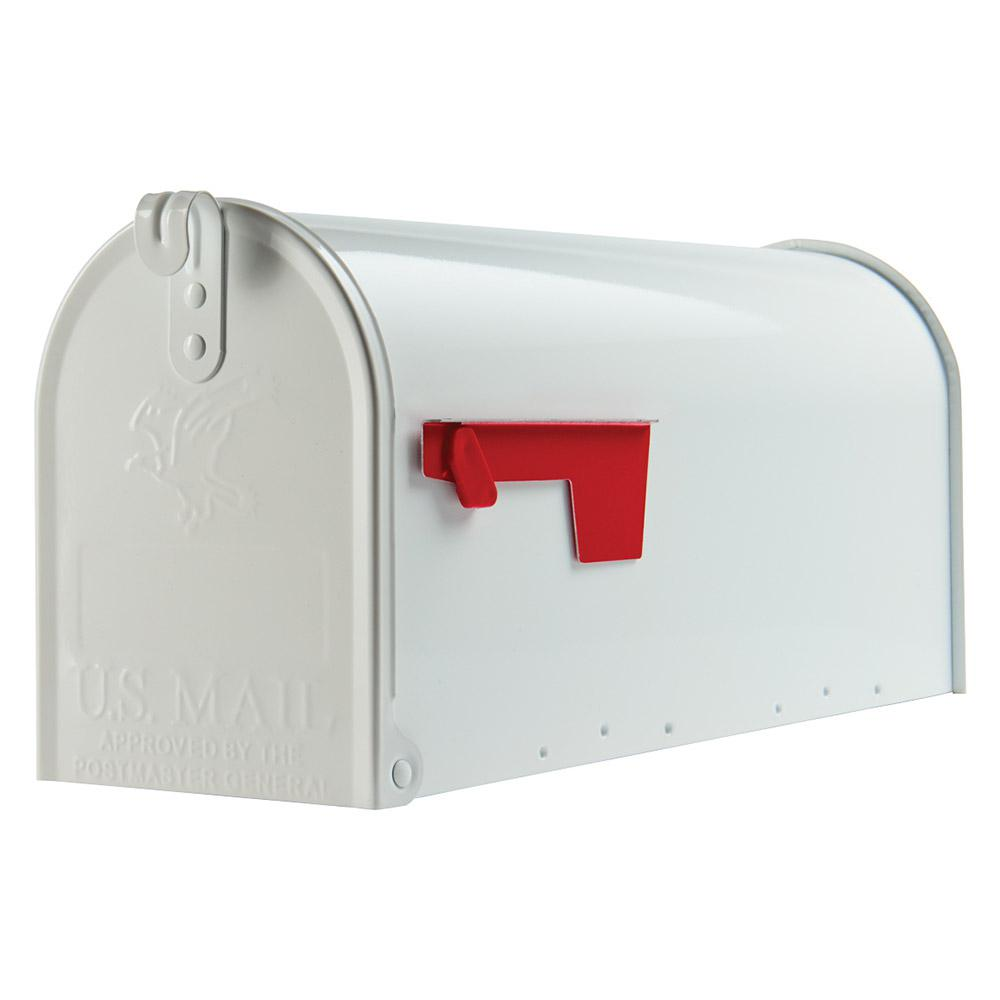 Gibraltar Mailboxes Elite Medium, Steel, Post Mount Mailbox, White