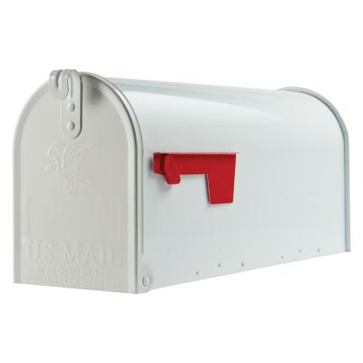 Elite Medium, Steel, Post Mount Mailbox, White