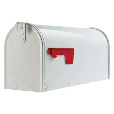 Elite White Medium Galvanized Steel Post-Mount Mailbox