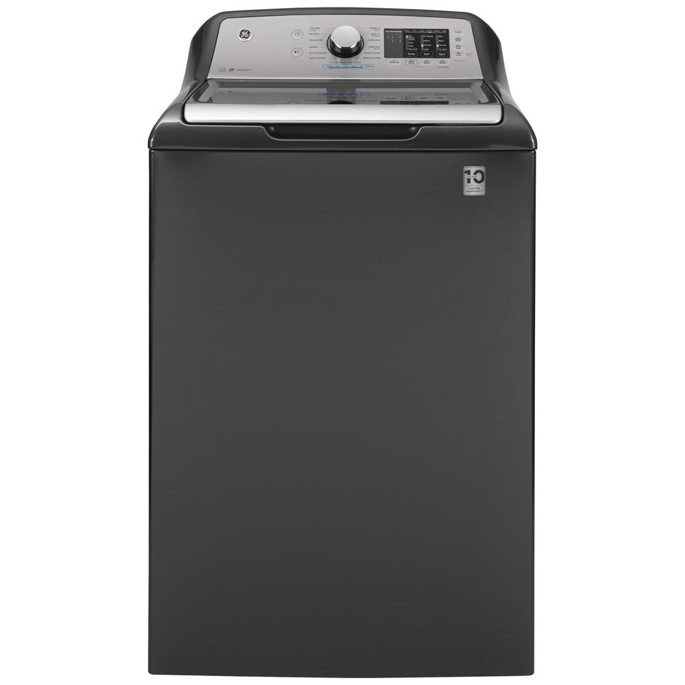GE 4.6 cu. ft. High-Efficiency Diamond Gray Top Load Washing Machine with FlexDispense and Sanitize with Oxi, ENERGY STAR
