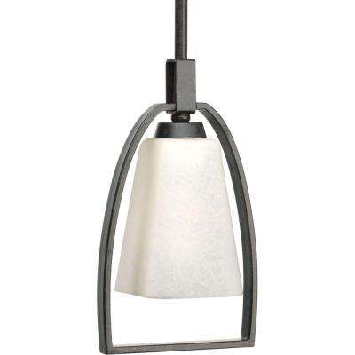 Ridge Collection 1-Light Espresso Mini Pendant with Etched Watermarked Glass