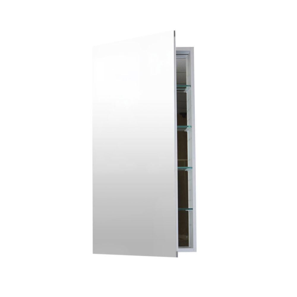 Flawless 16 in. W x 36 in. H x 4 in. D Frameless Aluminum Recessed or Surface-Mount Bathroom Medicine Cabinet