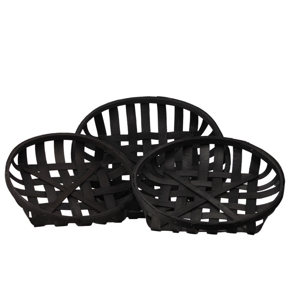 Round Wood Painted Black Decorative Basket (Set of 3)