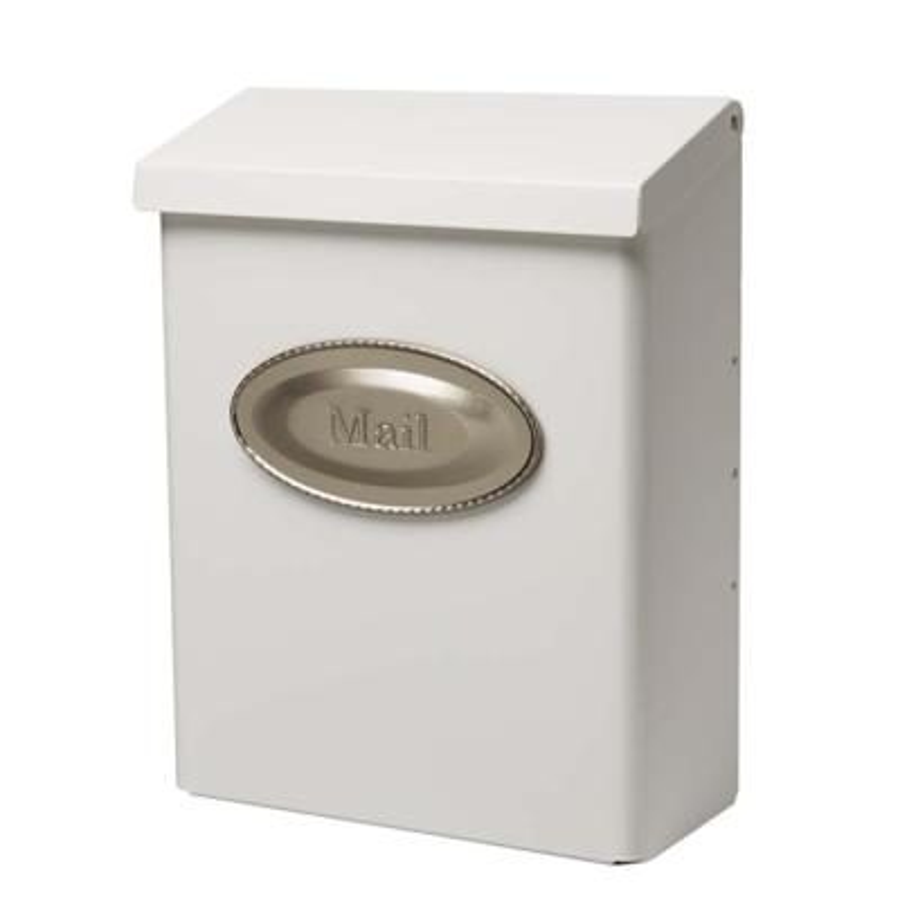 Designer White Satin Nickel Decorative Emblem Vertical Wall-Mount Locking Mailbox