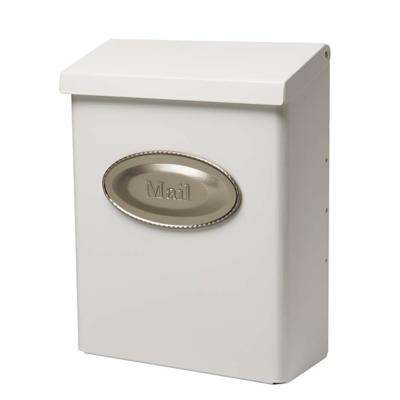 Designer White Satin Nickel Decorative Emblem Vertical Wall-Mount Locking Mailbox