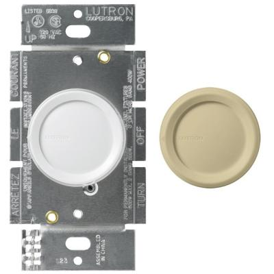 Single-Pole Rotary Dimmer Switch for Incandescent and Halogen Bulbs, White/Ivory