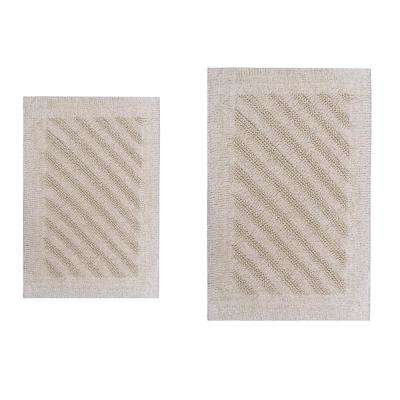 Shooting Star Ivory 20 in. x 30 in. and 40 in. x 24 in. 2-Piece Reversible Bath Rug Set