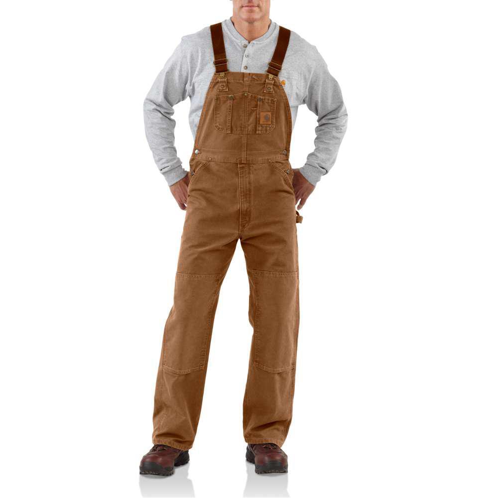 8a3072a89a2e Carhartt Men's 38x30 Carhartt Brown Cotton Bib Overalls-R06-211 ...