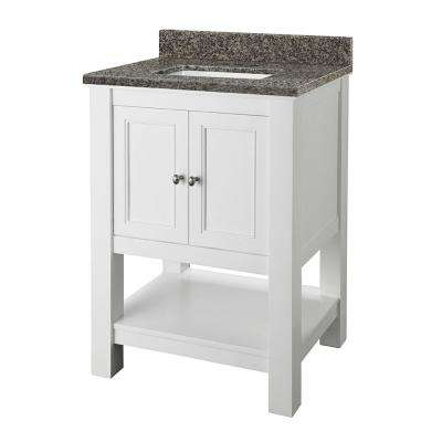 Gazette 25 in. x 19 in. Vanity in White with Granite Vanity Top in Sircolo with White Sink