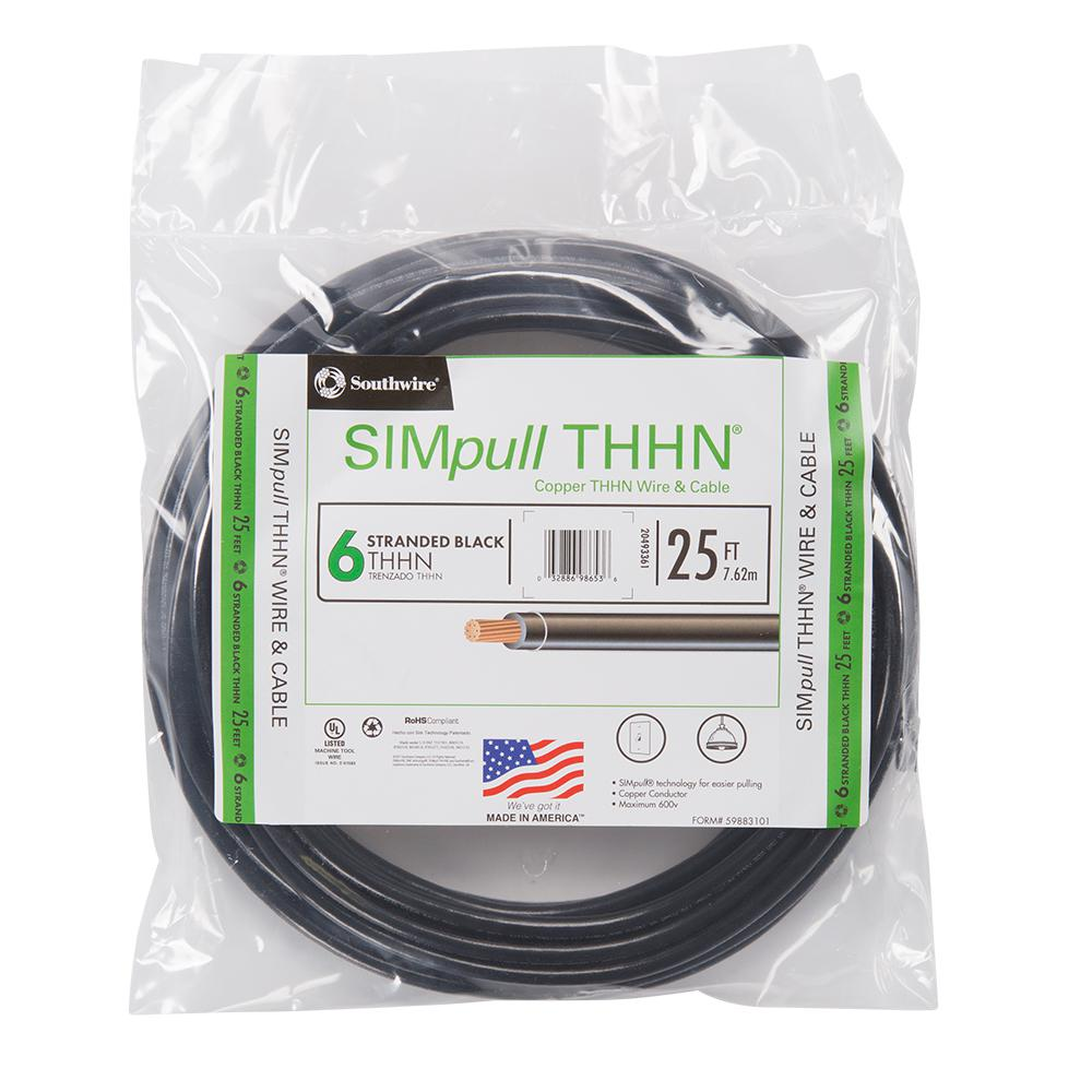 THHN 6 AWG GAUGE RED NYLON PVC STRANDED COPPER  BUILDING WIRE 200/'
