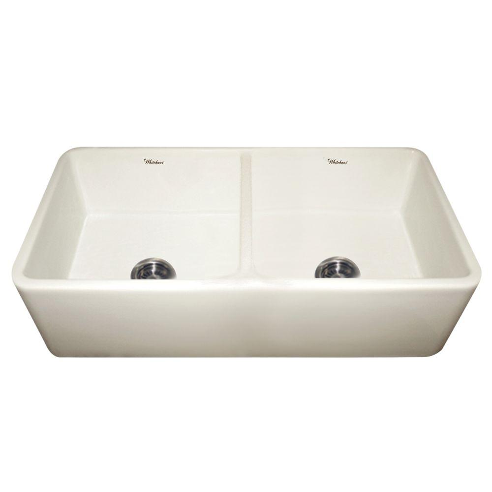 Whitehaus Collection Duet Reversible Farmhaus A Front Fireclay 37 In Double Bowl Kitchen Sink