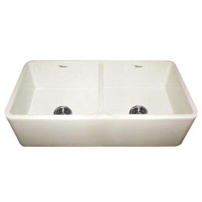 Duet Reversible Farmhaus Apron Front Fireclay 37 in. Double Basin Kitchen Sink in Biscuit