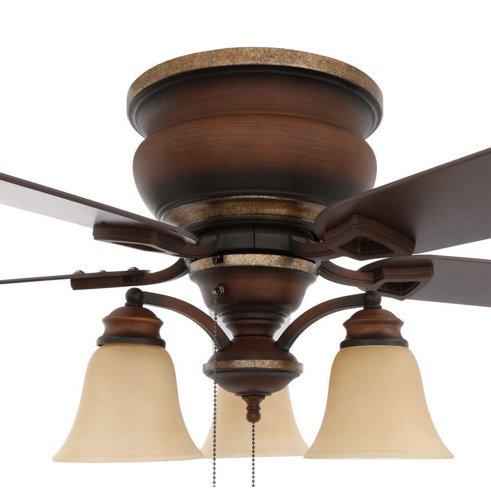 Ceiling Fan Flush Mount 5 Blades Low Profile Reversible W