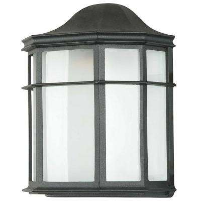 1-Light Black Outdoor Lantern with White Acrylic Lens