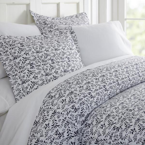 Becky Cameron Burst of Vines Patterned Performance Navy King 3-Piece Duvet Cover Set