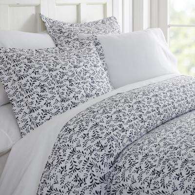 Burst of Vines Patterned Performance Navy Queen 3-Piece Duvet Cover Set
